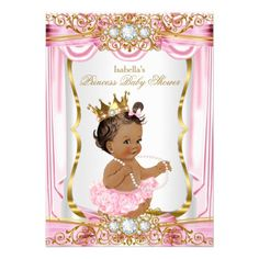 african american princess purple gold baby shower card | princess, Baby shower invitations