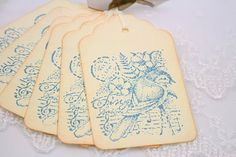 Song Bird Gift Tags Bluebird Vintage Style by seasonaldelights, $5.95