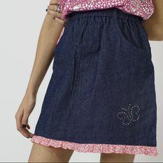 77e867e8f0 World's most adorable dark wash denim skirt with pink floral - Depop  Elastic Waist, Denim