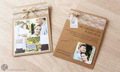 Card Vintage Kraftpapier Spitze Rustikal Rustic Verträumt DIY selber machen Magnet Einladung Hochzeit Wedding Save-The-Date Karten