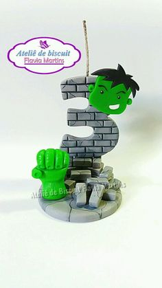 Number Cake Toppers, Fondant Toppers, Hulk Party, Superhero Party, Hulk Birthday Cakes, Fondant Numbers, Hulk Cakes, New Hobbies, Birthday Candles