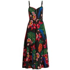 Valentino Tropical Dream-print silk crepe de Chine dress ($4,090) ❤ liked on Polyvore featuring dresses, valentino dress, fit and flare print dress, pineapple dress, sweet heart dress and crepe de chine dress