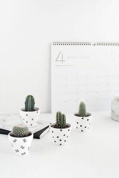 DIY Mini Patterned Plant Pots - mini cacti