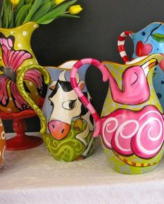 Hand-Painted Pitchers@ http://www.lisafroststudio.com/2012/07/08/make-the-pitch/