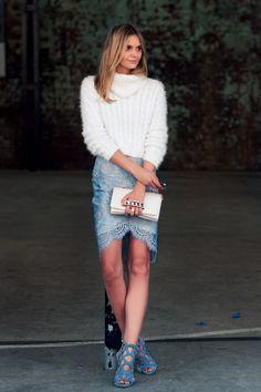 MBFWA 2014 Jessica Stein -Lover White Sweater -Lover Lace Skirt -Giuseppe Zanotti Shoes -Valentino Clutch
