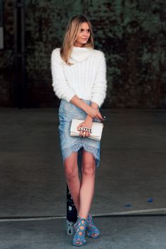 MBFWA 2014 Jessica Stein -Lover White Sweater -Lover Lace Skirt -Giuseppe Zanotti Shoes -Valentino Clutch