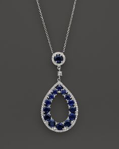 Sapphire and Diamond Teardrop Pendant Necklace in 14K White Gold, 15""