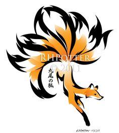 Kyuubi no Kitsune II by ~RHPotter on deviantART - Algún día, me tatuaré un zorro de 9 colas. Porque sí.
