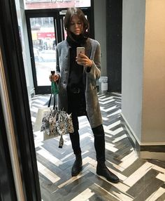 Glossier Founder, Emily Weiss, in the Grey Merino Shearling Reversible Coat | KOJA