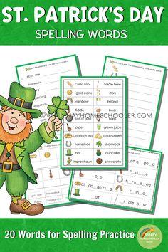 St. Patrick's Day spelling words #spelling #homeschool, #printables #teacherspayteachers #literacy