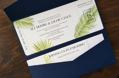 Destination boarding pass wedding invitation for a tropical wedding in Hawaii, Jamaica, Mexico, or the Caribbean. Purchase a sample by clicking through or book a consult to get your design started at paperfling.com #airplaneticketinvite #palmtreeinvite #palmfrontinvites #palmtreewedding #envelopments #custominvitations