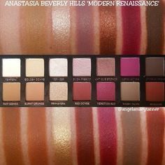 My most used, most loved XL MAKE UP FOR EVER magnetic palette filled with all my favorite warm single eyeshadows from Makeup geek, Mac, Anastasia Beverly Hills and Beauty Escape Cosmetics Modern Renaissance Swatches, Abh Modern Renaissance Palette, Makeup Goals, Love Makeup, Beauty Makeup, Makeup Inspo, Makeup Art, Makeup Inspiration, Makeup Ideas
