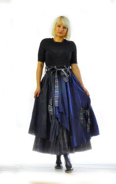 Blue extravagant 100% wool skirt/Asymmetrical skirt//Woman