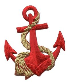 "AmazonSmile: [Single Count] Custom and Unique (2-1/8"" x 2-1/2"" Inch) Classy Nautical Ocean Themed Anchor with Silver Rope Iron On Embroidered Applique Patch {Red & Gold Colored}"