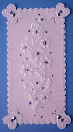 Pretty flower stencil by Sweet Poppy embossed on to parchment craft paper. www.geminicrafts.co.uk