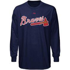 Atlanta Braves Navy Wordmark Long Sleeve MLB T-Shirt