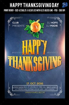 Thanks Giving Day Party Flyer  — PSD Template • Only available here ➝…