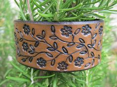 Hand Tooled Leather Bracelet Cuff - Petite Flowers on a Trailing Vine - 1 1/4 inch wide - Snap - Women, Girl, Teen - Brown