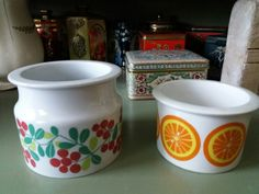 Two Pomona cans by Arabia. Fleas, Canning, Mugs, Retro, Tableware, Vintage, Home, Dinnerware, Tumblers