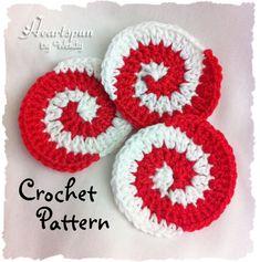 Christmas+Crochet+Coaster+Patterns | Christmas Peppermint Pinwheel CROCHET PATTERN, PDF Format, Ornament ...