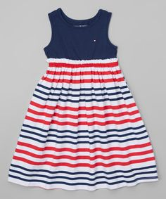 Look at this Tommy Hilfiger Navy & Red Stripe Maxi Dress - Toddler & Girls on #zulily today!