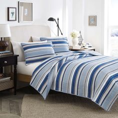 Light blue, navy and white stripes combine to form this refreshing Fresno quilt set, decorated with a pure cotton quilted weave. Machine washable for easy care, this bright bedding is sure to bring contemporary appeal to any bedroom.