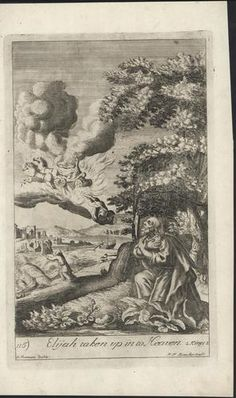 Elijah Taken to Heaven C 1700 Blome Original Antique Religious Print  Christian Art, Bible  $31.45