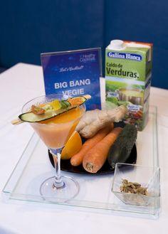 Big Bang Vegie: Caldo Casero de Verduras 100% Natural Gallina Blanca, zumo de zanahoria, zumo de pepino, zumo de naranja, jengibre, cardamomo y jarabe de azúcar. ¡Diferente!