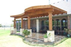 By Custom Patio Designs   Radius Edge Shade Structures, Stone Columns With  Wood Gardening Outdoor Living