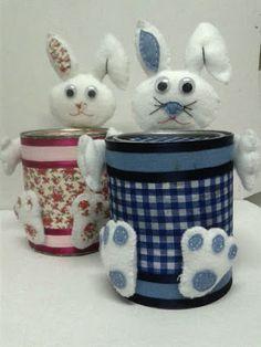 LembreFest : Lata decorada coelho feltro