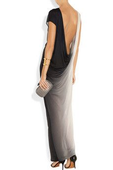 Helmut Lang                                  Shadow ombré modal and silk-blend jersey maxi dress $395  Trimmed only with a thin strip of silk-chiffon, Helmut Lang's masterfully draped modal and silk-blend jersey gown is a contemporary choice for evening. The daring open back adds a provocative twist to this fuss-free style - keep it in focus with simple black sandals.     Shown here with: Maiyet cuff, Maison Martin Margiela ring, Givenchy shoes, Bottega Veneta clutch.