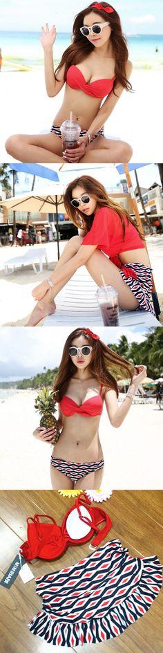 8350951db5 Korean red honeymoon XX GG female Bikini three piece small chest steel  support gather hot spring bikini $31.44