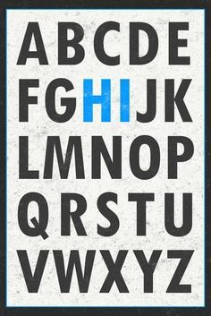 Hi Alphabet Blue Art Print at Art.com