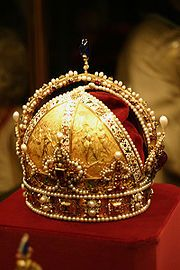 Austrian Crown Jewels : Wikis (The Full Wiki) Crown of the Austrian Empire, (made by Jan Vermeyen in Prague in 1602). It is made of pure gold, partially enamelled and studded with diamonds, rubies, spinel rubies, sapphires, pearls, and cushioned with velvet.