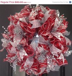 ON SALE Deco Mesh Wreath CHRISTMAS Red and by WreathsandTreats