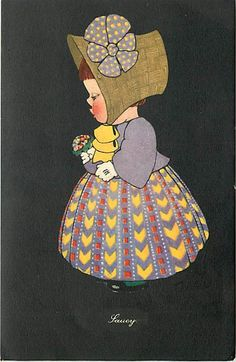 Saucy Little Girl Wearing Bonnet Polka Dots Profile Chubby Cheeks Q4249 | eBay
