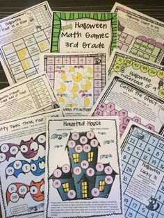 Halloween math board games for third grade from Halloween Math Games Third Grade by Games 4 Learning -14 printable games that review a variety of third grade skills. Ideal as math center games. $
