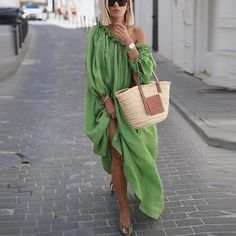 Classy Off-Shoulder Pure Colour Long Sleeve Casual Maxi Dress – keyfancyshop Casual Dresses, Fashion Dresses, Dresses Dresses, Cheap Dresses, Summer Outfits, Summer Dresses, Vacation Dresses, Evening Dresses, Mode Outfits