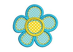 Blue Flower Applique Machine Embroidery Design by BeetleApplique