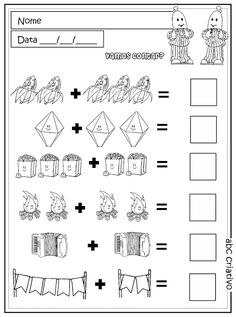 Kindergarten Math and Literacy Worksheets for February