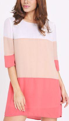 White long sleeve block dress