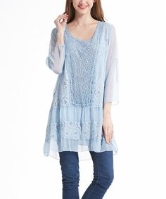 Love this Blue Lace-Accent Sheer-Sleeve Tunic on #zulily! #zulilyfinds