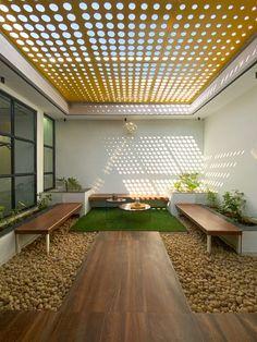 Home Garden Design, Patio Design, Exterior Design, House Design, Courtyard Design, Decor Home Living Room, Outdoor Living Rooms, Brick Bonds, Skylight Design