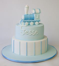 Jesse's Train Christening Cake by Sweet Tiers, via Flickr