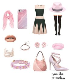 """""""Outfits by Colour #1 - Pink"""" by ryan-the-ravenclaw ❤ liked on Polyvore featuring Raoul, Wolford, Huda Beauty, Irene Neuwirth, MKF Collection, Alexis Bittar, Monica Vinader, Valentino, Recover and Borsalino"""