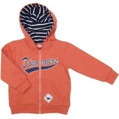 Dinosaur brushed fleece hooded jacket, with lined contrast hood and kanga pocket. Sizes  0, 1 & 2.