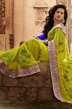 Lime And Blue Embroidery Saree