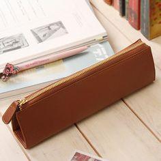 Leather Pencil Case - Brown - 7321 DESIGN