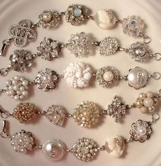 Obsessed with this! Vintage earrings turned into bracelets. Would love to do this with my grandmothers earrings