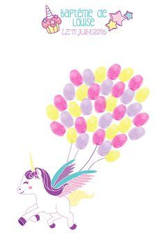 Arbre à empreintes baptême licorne, cadeau de bapteme original, arbre à signatures, livre d'or, anniversaire : Affiches, illustrations, posters par little-pop-studio